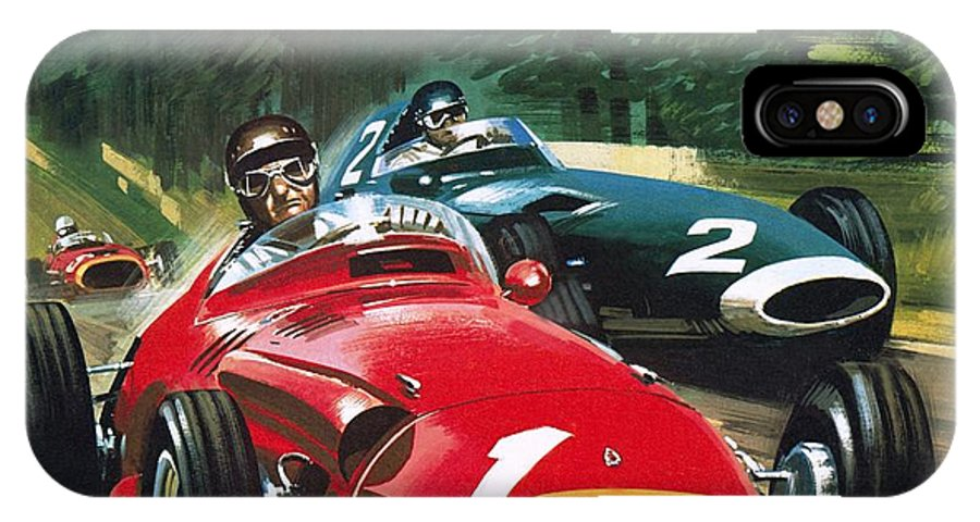 Juan Manuel Fangio; Car Racing; Maserati; Grand Prix Racing; Speed; Driving; Helmet IPhone X Case featuring the painting Juan Manuel Fangio by Wilf Hardy