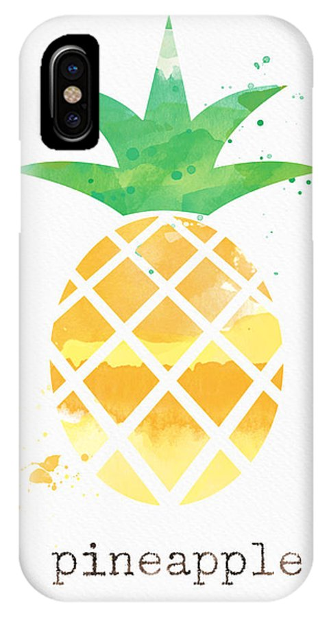 Pineapple IPhone X Case featuring the painting Juicy Pineapple by Linda Woods