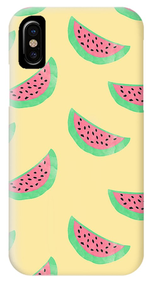 Juicy Watermelon IPhone X Case featuring the digital art Juicy Watermelon by Allyson Johnson