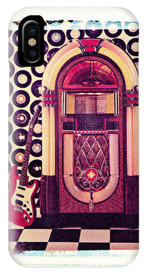 Jukebox Electric Guitar Music Rock N Roll Sound Machine Records IPhone X Case featuring the photograph Juke Box Polaroid Transfer by Garry Gay