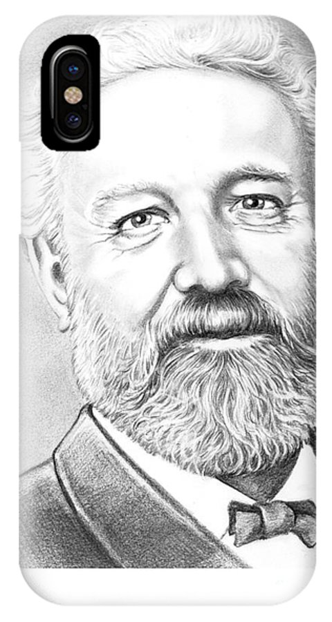 Jules Verne IPhone X Case featuring the drawing Jules Verne by Murphy Elliott