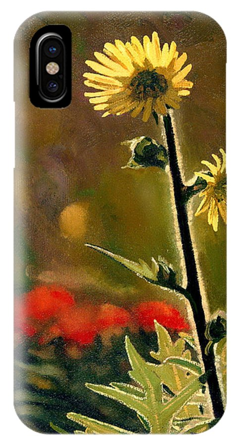 Prairie Flowers IPhone X Case featuring the painting July Afternoon-compass Plant by Bruce Morrison