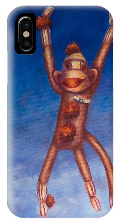 Children IPhone X Case featuring the painting Jump For Joy by Shannon Grissom