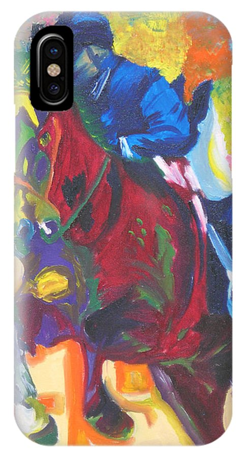 Horse Jumping IPhone Case featuring the painting Jump Off by Michael Lee