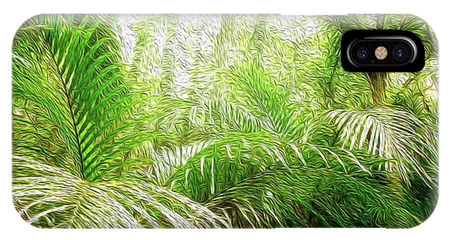 Fern IPhone X Case featuring the digital art Jungle Abstract 1 by Les Cunliffe