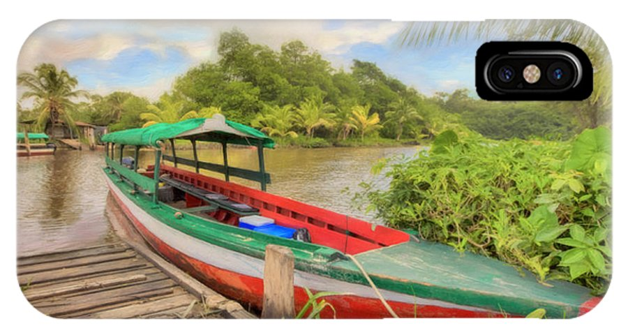 Suriname IPhone X / XS Case featuring the photograph Jungle Boat by Nadia Sanowar