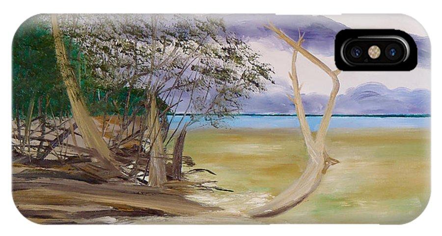 Jungle Gym Mangrove Tree Sanibel Island Hiking Walking Biking Bicycle Kayaking Ocean Gulf Of Mexico Sea Sand Fun Shelling IPhone X Case featuring the painting Jungle Gym Mangrove Tree by Troy Thomas