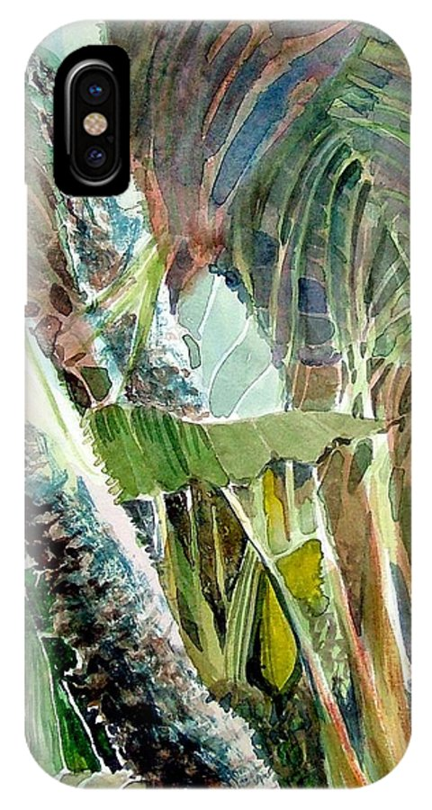 Palm Tree IPhone X Case featuring the painting Jungle Light by Mindy Newman