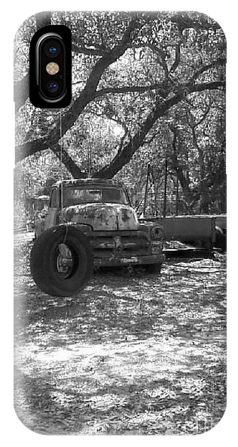 Black And White IPhone X Case featuring the photograph Junk Yard Dog by Michelle Powell