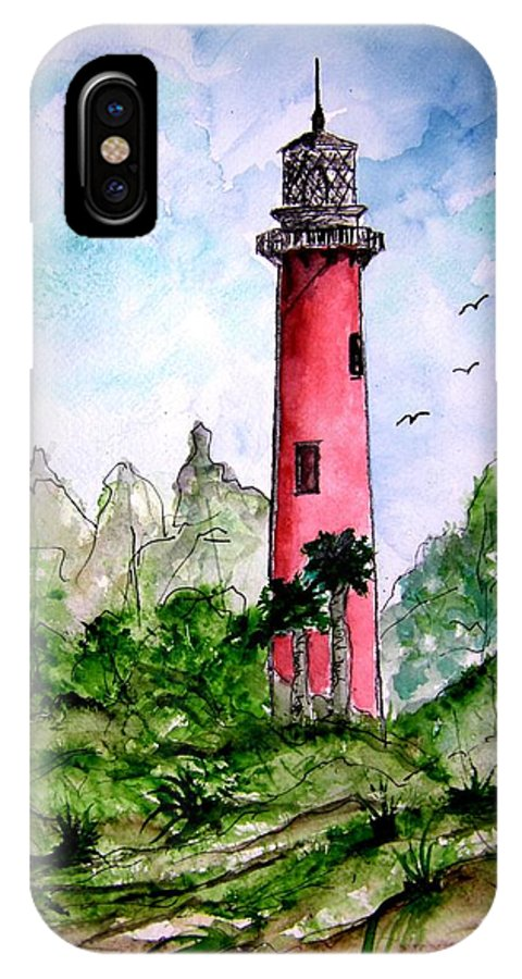 Lighthouse IPhone X Case featuring the painting Jupiter Florida Lighthouse by Derek Mccrea