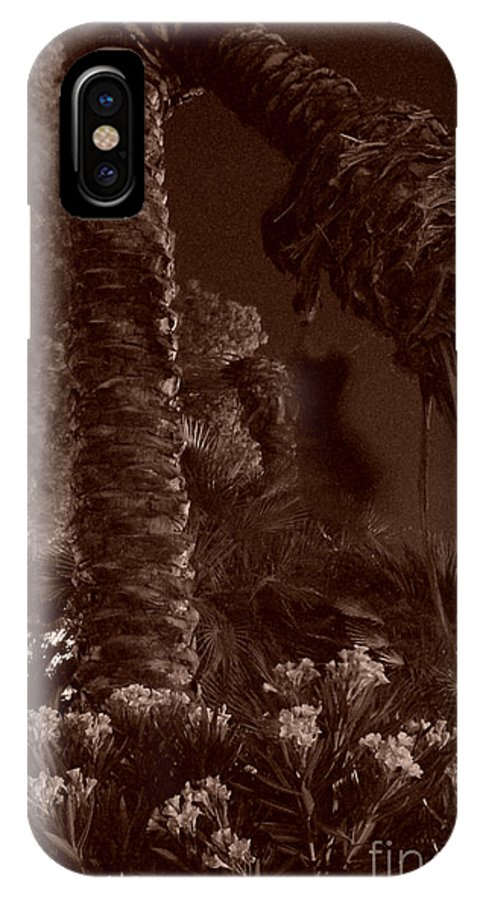 Sepia IPhone X Case featuring the photograph Juraissic Palm Number 1 by Heather Kirk