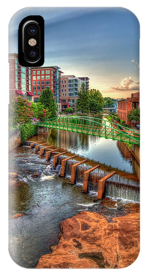 Reid Callaway The Main Attraction IPhone X Case featuring the photograph Just Before Sunset Reedy River Falls Park Greenville South Carolina Art by Reid Callaway