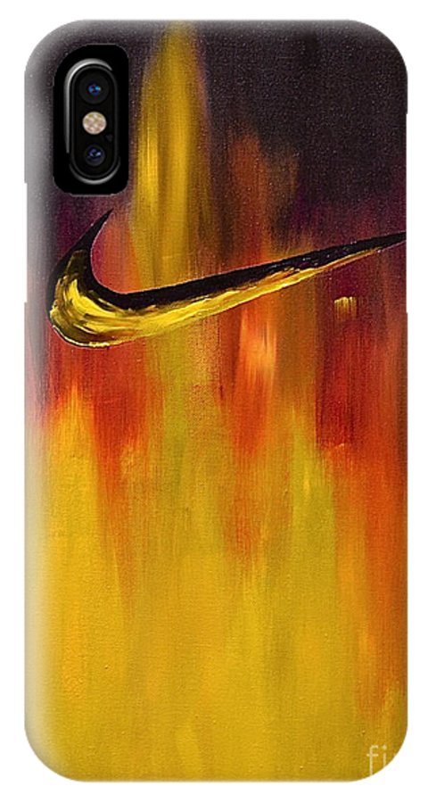 Sports Nike Abstract By Herschel Fall IPhone X / XS Case featuring the painting Just Do It by Herschel Fall