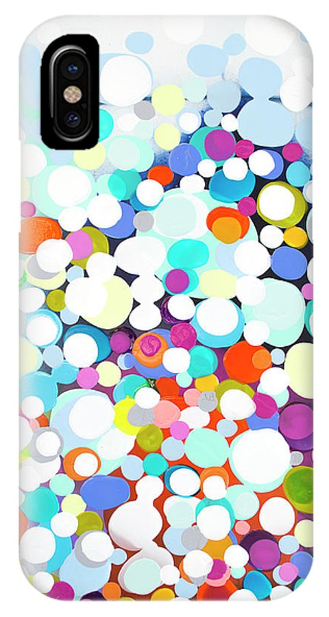 Abstract IPhone X Case featuring the painting Just For Fun by Claire Desjardins
