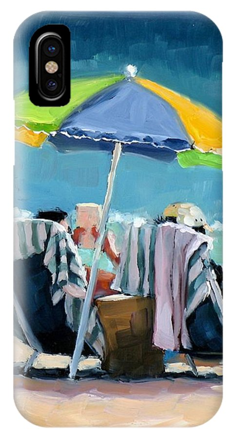 Beach IPhone X Case featuring the painting Just Leave A Message IIi by Laura Lee Zanghetti