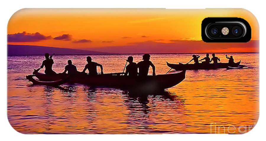 Jim Cazel IPhone X Case featuring the photograph Maui Hawaii Kaanapali Outrigger Sunset by Jim Cazel