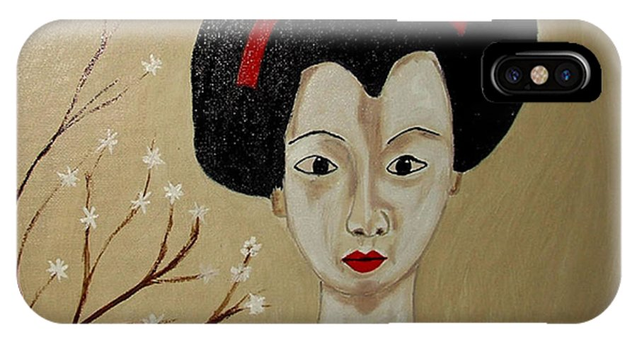 Japanese IPhone X Case featuring the painting Kabuki Girl by Rusty Gladdish