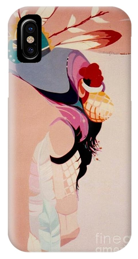Kachina IPhone X Case featuring the painting Kachina 1 by Marlene Burns