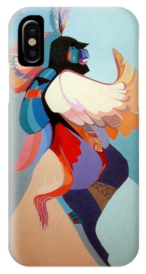 Kwahu IPhone X Case featuring the painting Kachina Kwahu by Marlene Burns
