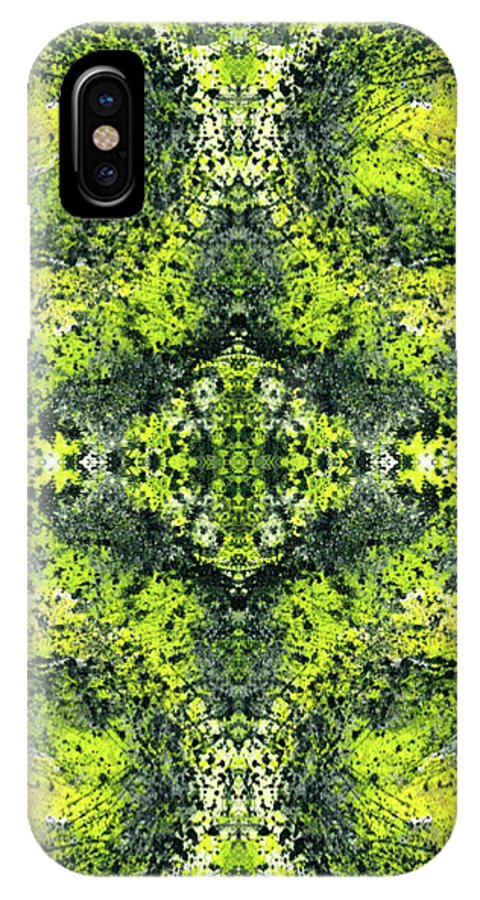 Abstract IPhone X Case featuring the mixed media Kaleidoscope Mandalas #1112 by Rainbow Artist Orlando L