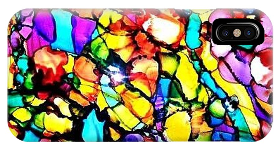 Alcohol Ink IPhone X / XS Case featuring the painting Kalidescope by Julie Bullock