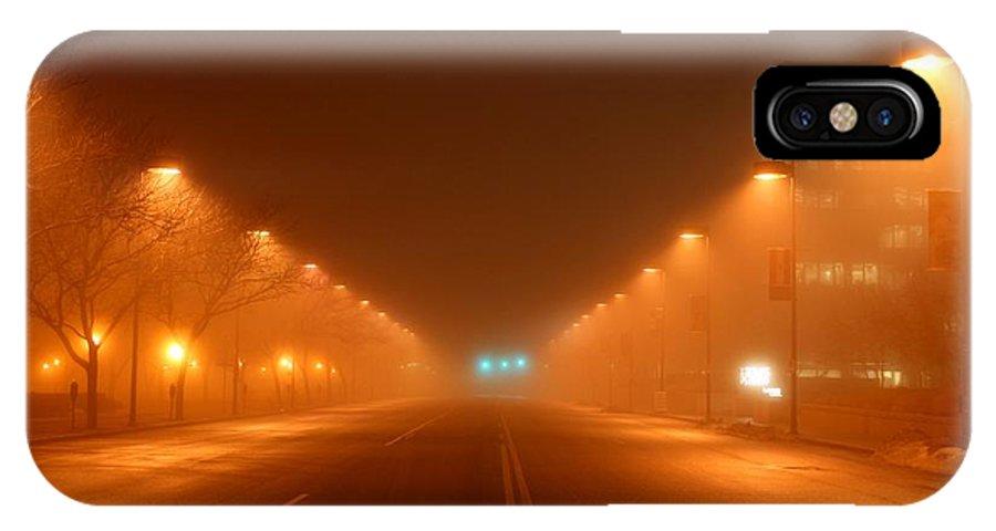Kansas IPhone X Case featuring the photograph Kansas City Grand Avenue In Fog by David Dunham