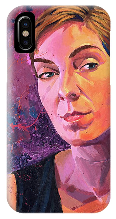 Girl Writes What IPhone X Case featuring the painting Karen by Aaron Moore