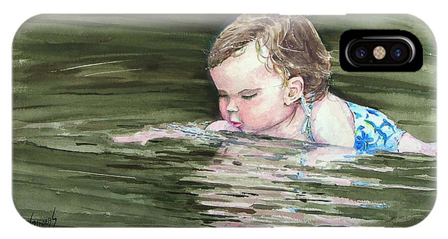 Child In River IPhone X Case featuring the painting Katie Wants A River Rock by Sam Sidders