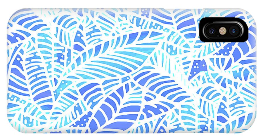 Abstract IPhone X Case featuring the digital art Kaua'i Ocean Leaves by Karen Dyson