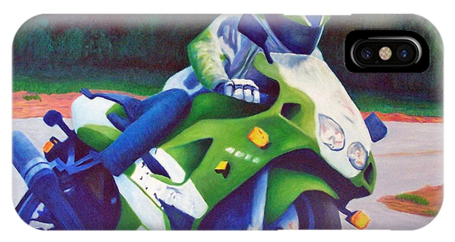 Motorcycle IPhone X Case featuring the painting Kawasaki Zx7 - In The Groove by Brian Commerford