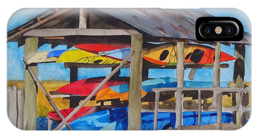 Kayak IPhone X Case featuring the painting Kayak Rainbow by Jean Blackmer