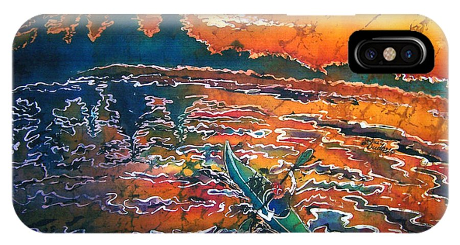 Kayak IPhone Case featuring the painting Kayak Serenity by Sue Duda