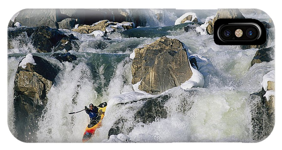 Water IPhone X / XS Case featuring the photograph Kayaker Running Great Falls by Skip Brown
