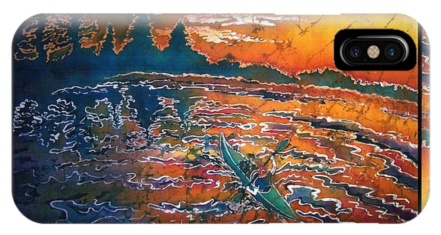 Kayak IPhone X Case featuring the painting Kayaking Serenity - Bordered by Sue Duda