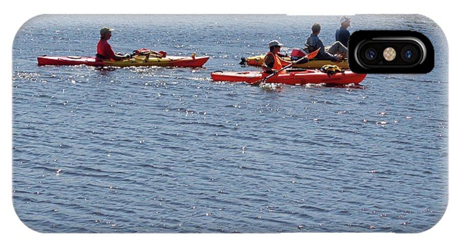 Kayak IPhone X Case featuring the photograph Kayaks by John Mathews