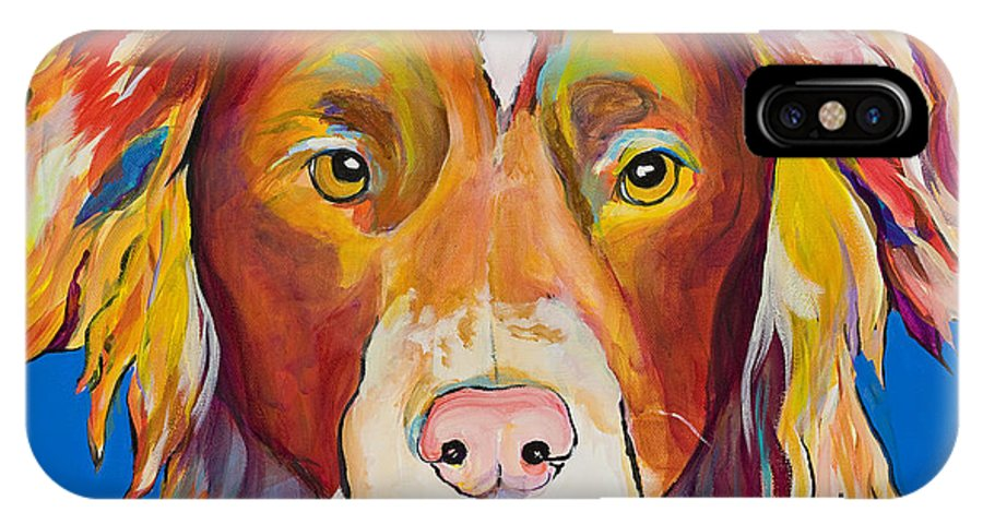 Australian Border Collie IPhone X / XS Case featuring the painting Keef by Pat Saunders-White
