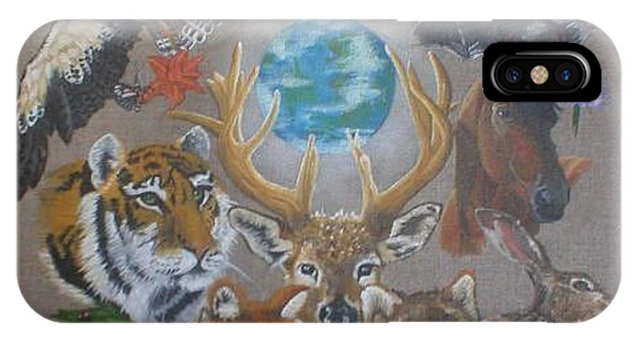 Earth Owl Bat Horse Hare Frog Wolf Deer Fox Swan Tiger Kestrel Spider Drogonfly Butterfly Ladybird IPhone X Case featuring the painting Keepers Of The Realm by Pauline Sharp
