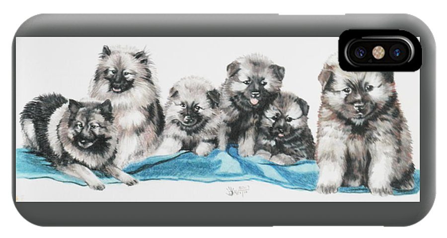 Non-sporting IPhone X Case featuring the mixed media Keeshond Puppies by Barbara Keith