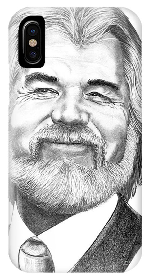 Music IPhone X Case featuring the drawing Kenny Rogers by Murphy Elliott