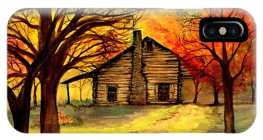 Log Cabins IPhone X Case featuring the painting Kentucky Cabin by Gail Kirtz