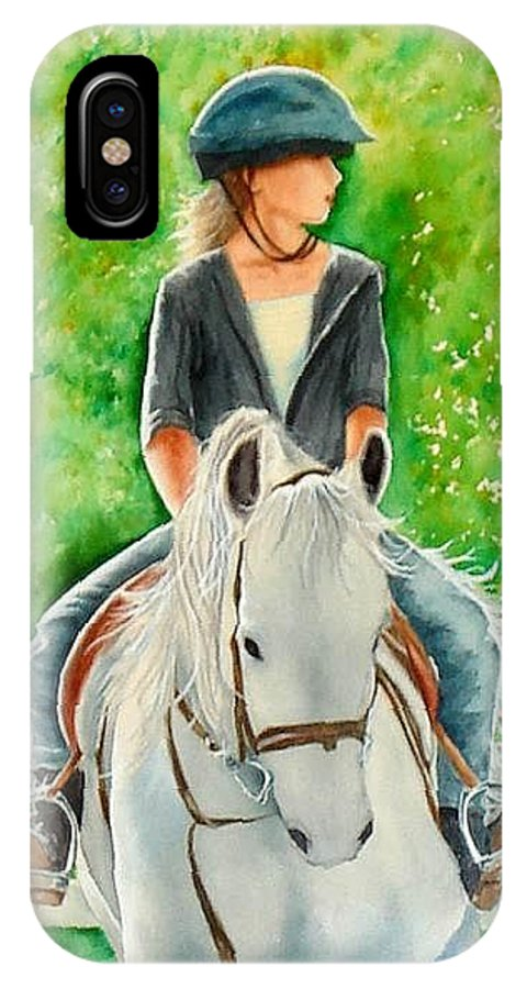 Girl IPhone X Case featuring the painting Kenzie by Sonya Catania