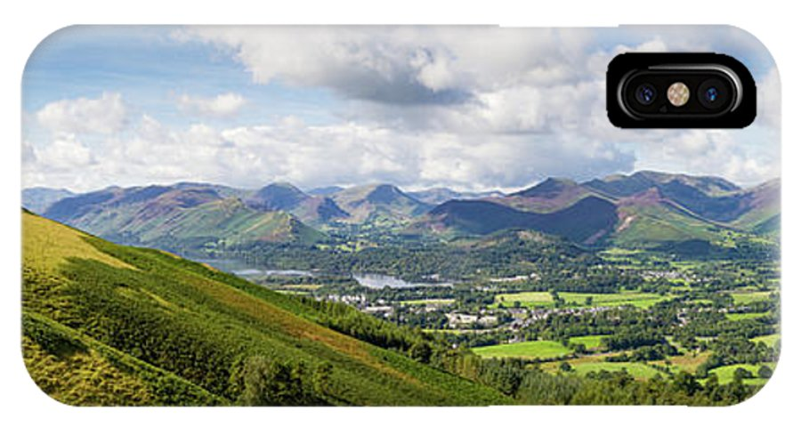 Cumbria Lake District IPhone X Case featuring the photograph Keswick, Lake Derwent Water And The Fells Panorama by Iordanis Pallikaras