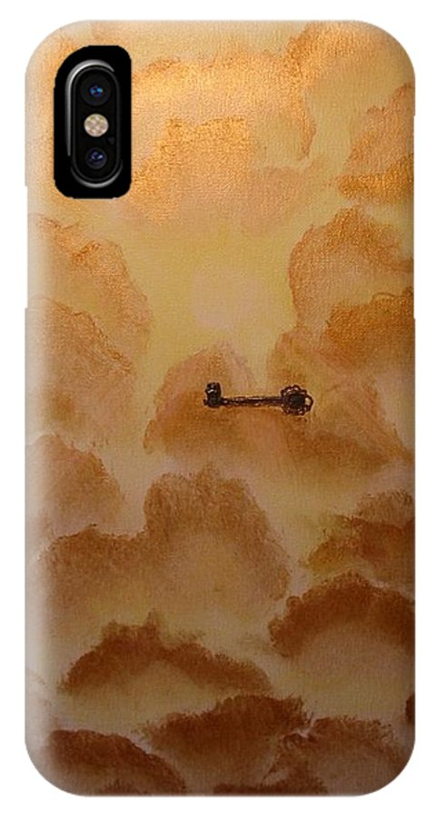 Gold IPhone X / XS Case featuring the painting Keys To The Kingdom by Laurie Kidd