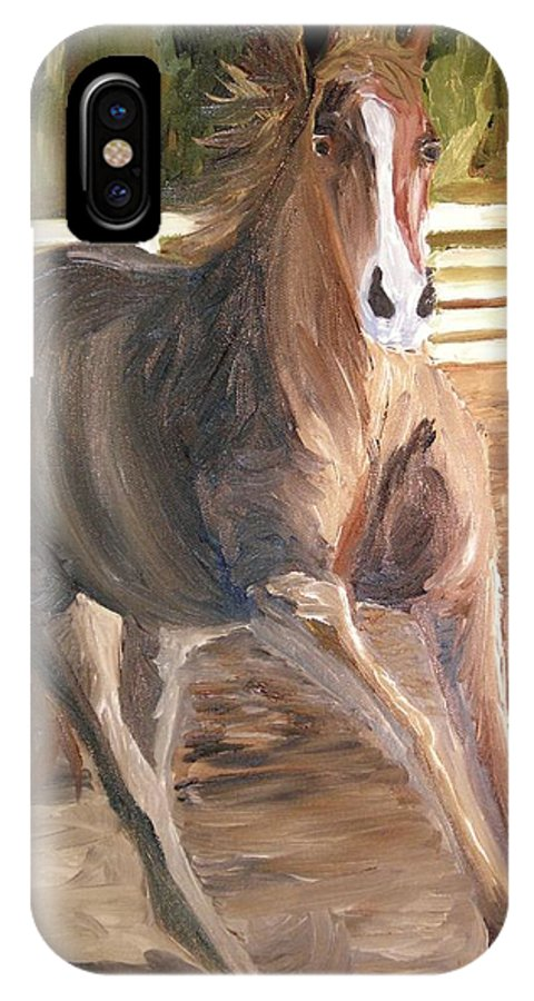 Horse IPhone X Case featuring the painting Kicking Dirt by Michael Lee