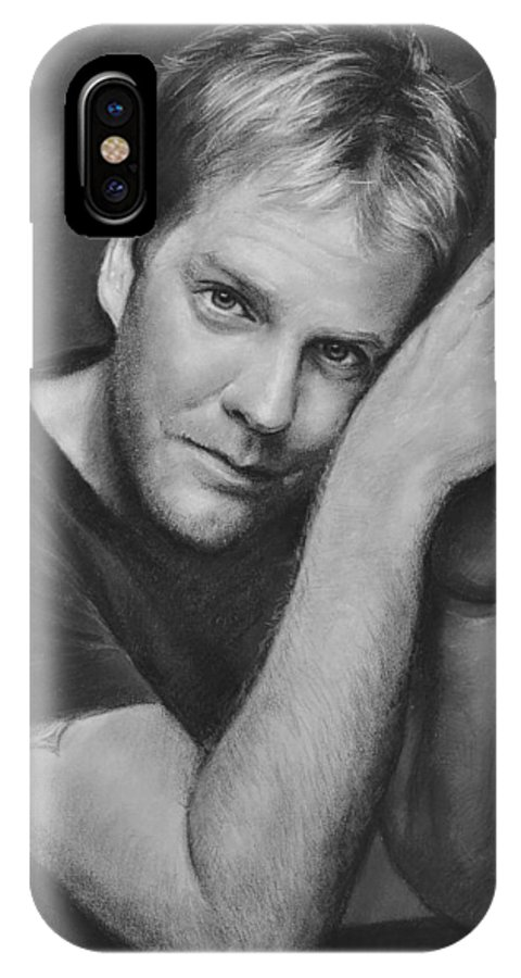 Portraits IPhone X Case featuring the drawing Kiefer Sutherland by Iliyan Bozhanov