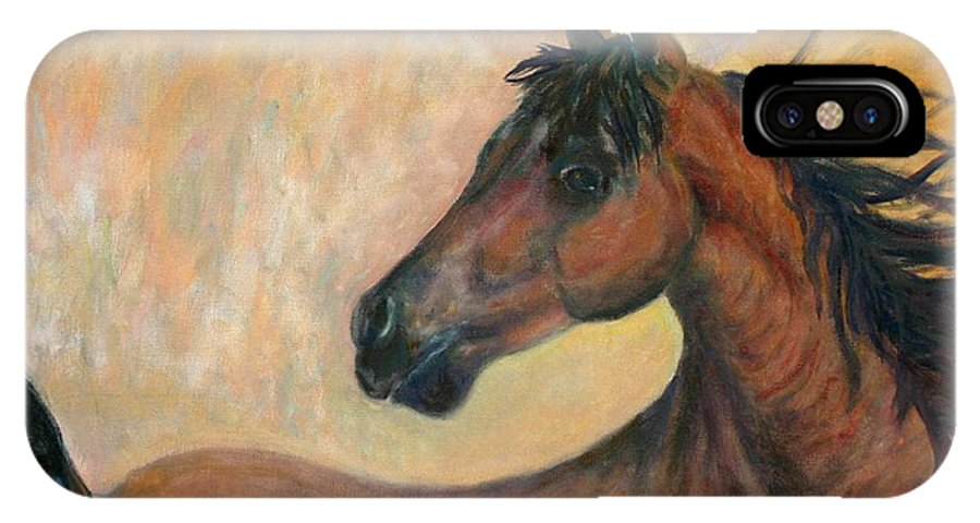 Horse IPhone X Case featuring the painting Kiger Mustang by Ben Kiger