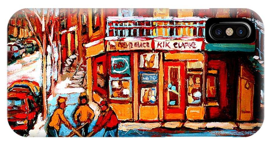 Montreal Streetscene IPhone X Case featuring the painting Kik Cola Depanneur by Carole Spandau