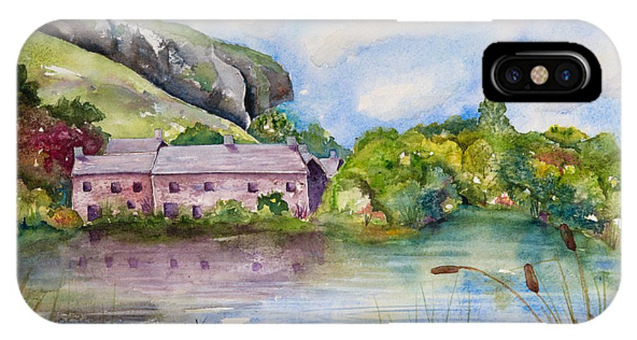 Landscape IPhone X Case featuring the painting Kilnsey Crag Wharfedale by Renee Chastant