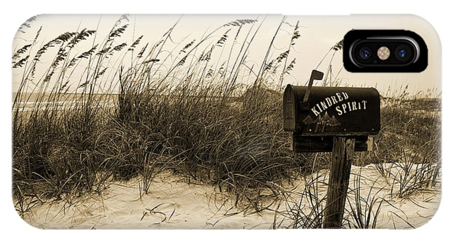 Kindred Spirit Mail Box Beach Dune Sepia Bird IPhone X Case featuring the photograph Kindred Spirit by William Haney