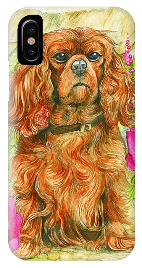 King IPhone X Case featuring the painting King Charles Spaniel by Morgan Fitzsimons